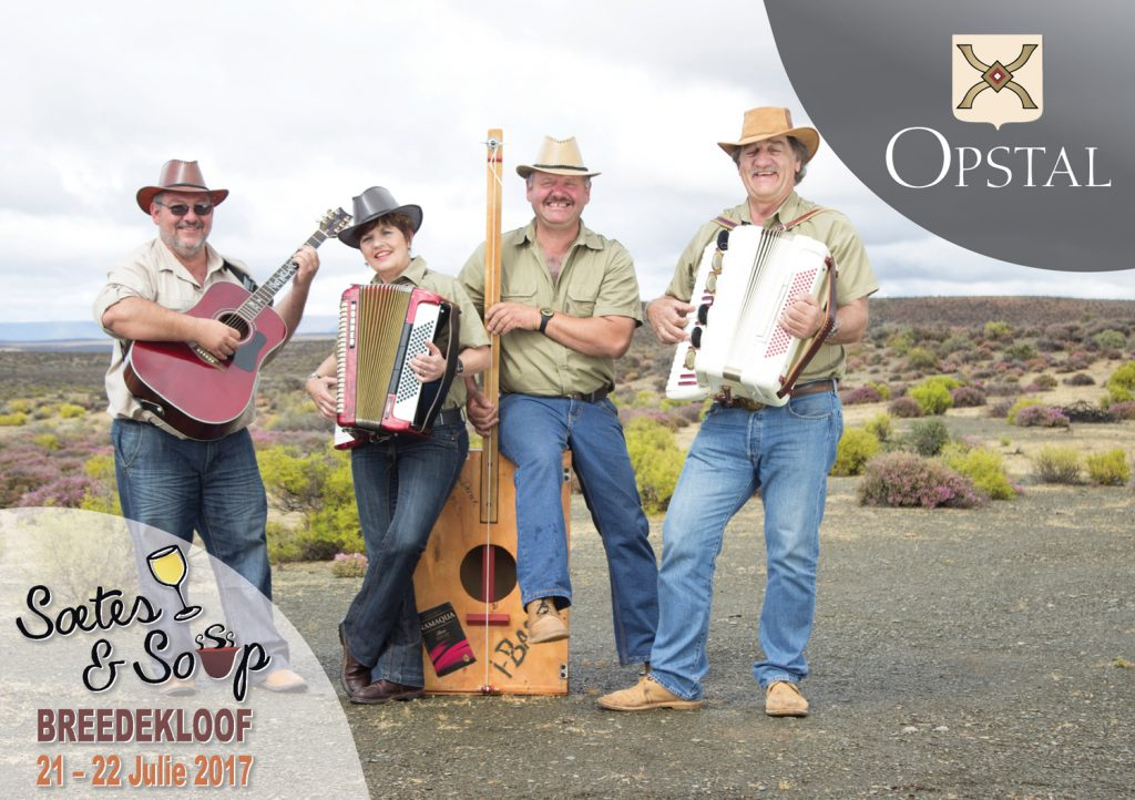 "This year our Soetes & Sop weekend (21-23 July) will kick off with an Opstal Live show by Klipwerf Orkes! The Klipwerf Orkes, a band born and bred in the Calvinia district of the Hantam Karoo, has their own unique style of music that no one can copy. Bring your family and friends and join us for a ""vaste vastrap""! Food stalls with a variety of traditional South African cuisine and a cash bar will be available during the show. Tickets are R170 per person and are available on Webtickets. The Klipwerf show at Opstal can be attended without a Soetes & Sop Festival pass."