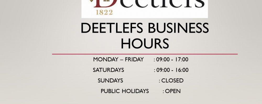 Deetlefs Business Hours