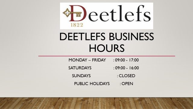 Deetlefs Business Hours