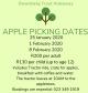 Dwarsberg Apple picking dates