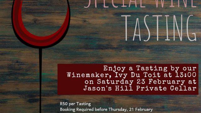 Special tasting at Jason's Hill