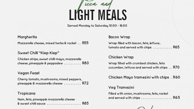 Trouthaven menus