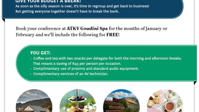 Book your conference at ATKV Goudini Spa and save