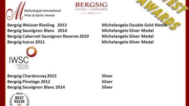 Bergsig Estate achievements at Michelangelo Awards