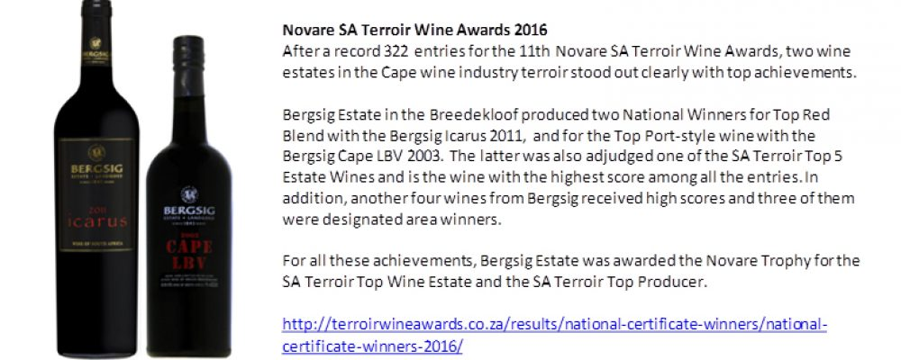 Bergsig Estate produces National Winners in Novare SA Terroir Wine Awards