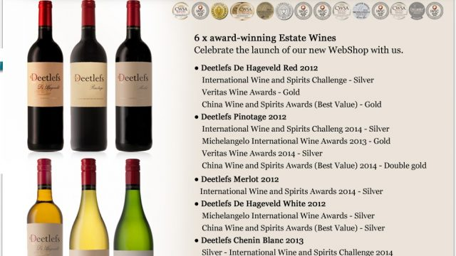 Deetlefs – 6 of their best Estate wines: Cellar-to-Door Service