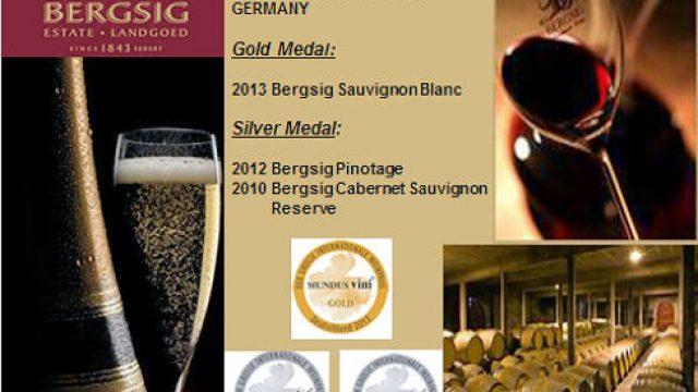 Bergsig Cellar achievements at Mundus Vini 2014, Germany